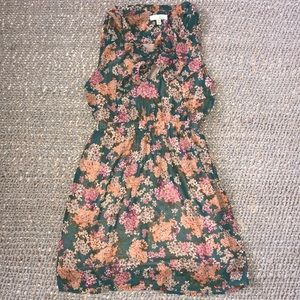Lush Floral tie neck dress